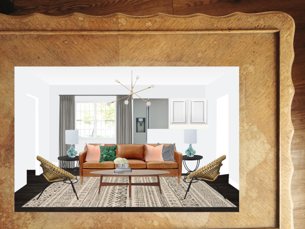 Get This Look: #projectmidcenturyfunk    Town Lifestyle + Design    Get the look of this Mid Century inspired E-design Living Room. A great eclectic mix of pattern and texture.